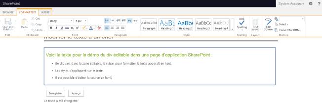 Div éditable - Onglet Format text