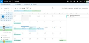 Interface calendrier Office 365
